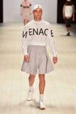Mandem fashion show. SYDNEY / AUSTRALIA - 20 May: Model walks on runway during Mandem show at The Innovators fashion design studio during Mercedes Benz Fashion Royalty Free Stock Photos