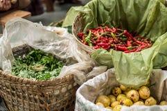 Manden met vruchten en groenten worden gevuld die Stock Afbeeldingen