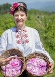 Manden van Rozen bij het Rose Oil-festival Bulgarije royalty-vrije stock afbeelding