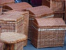 Mandenmakerij van wijnstokken Stock Foto's