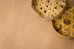 Mandewerk, manden, vissen, hout, rijs, bamboe Royalty-vrije Stock Fotografie