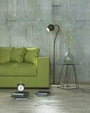 Mandi in aria la stanza interna con la lampada ed il sofà giallo, 3D Fotografia Stock Libera da Diritti