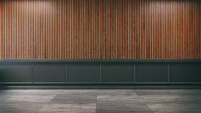 Mandi in aria la stanza interna e vuota, struttura scura e la vecchia parete di legno /3d rende illustrazione vettoriale