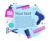 Mandi un sms agli strumenti ed ai cosmetici di lavoro di parrucchiere dell'insegna illustrazione vettoriale