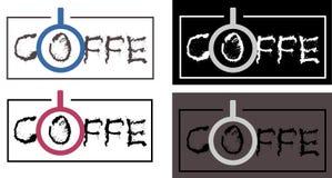 Mandi un sms al caffè di logo, la caffetteria, minimalismo del caffè Fotografia Stock