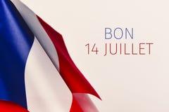 Mandi un sms al juillet di Bon 14, 14 luglio felice in francese Fotografia Stock Libera da Diritti