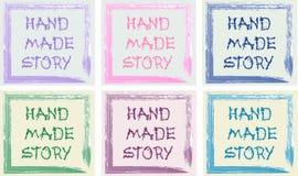 Mandi un sms al logo di un negozio fatto a mano nel telaio dell'acquerello Fotografie Stock Libere da Diritti