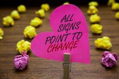 Mandi un sms al segno che mostra tutto il punto dei segni al cambiamento Necessità concettuale della foto di fare rosa diversamen fotografia stock