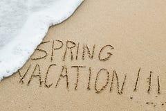 Mandi un sms alla vacanza di molla nella sabbia di una spiaggia Immagini Stock Libere da Diritti