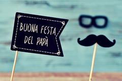 Mandi un sms a buona festa del papa, il giorno di padri felice in italiano immagini stock libere da diritti