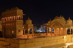 Mandir宫殿屋顶在Jaisalmer 免版税库存照片