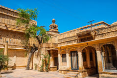 Mandir宫殿美好的外部在Jaisalmer,拉贾斯坦,印度 Jaisalmer是一个非常普遍的旅游目的地在Rajasth 库存图片