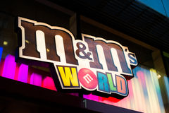 MandM World shop logotype. MandM World shop logo in Piccadilly Circus, London, United Kingdom royalty free stock images