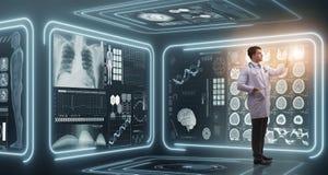 Mandoktorn i futuristiskt medicinläkarundersökningbegrepp arkivbild