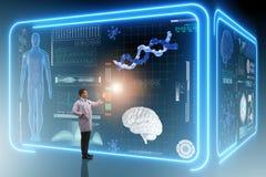 Mandoktorn i futuristiskt medicinläkarundersökningbegrepp royaltyfri bild