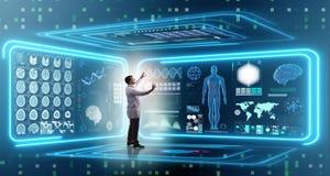 Mandoktorn i futuristiskt medicinläkarundersökningbegrepp Royaltyfria Bilder