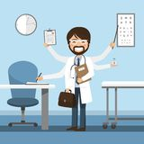 Mandoktorsmultitasking på sjukhuset stock illustrationer