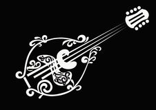 Mandolin. Stilized white silhouette of a mandolin on a black background Royalty Free Stock Image