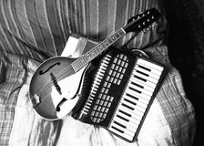 Mandolin and accordion in Black and white Stock Images