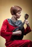mandolin costume играя женщину ренессанса Стоковое фото RF
