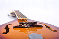 Mandolin detail on white background. Detail photo of bluegrass mandolin from the bottom on white background Royalty Free Stock Photos