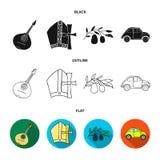 Mandolin far, oliv, retro automatisk E stock illustrationer