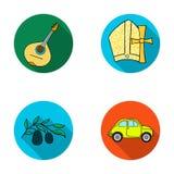 Mandolin far, oliv, retro automatisk Symboler för samling för Italien landsuppsättning i plant stilvektorsymbol lagerför illustra royaltyfri illustrationer