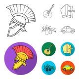 Mandolin far, oliv, retro automatisk Symboler för samling för Italien landsuppsättning i översikten, materiel för symbol för läge stock illustrationer