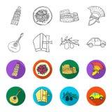 Mandolin far, oliv, retro automatisk Symboler för samling för Italien landsuppsättning i översikten, materiel för symbol för läge vektor illustrationer