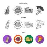 Mandolin far, oliv, retro automatisk Symboler för samling för Italien landsuppsättning i lägenheten, översikt, monokromt stilvekt royaltyfri illustrationer
