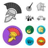 Mandolin far, oliv, retro automatisk Symboler för samling för Italien landsuppsättning i monokrom, materiel för symbol för lägenh stock illustrationer