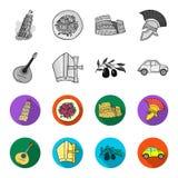 Mandolin far, oliv, retro automatisk Symboler för samling för Italien landsuppsättning i monokrom, materiel för symbol för lägenh royaltyfri illustrationer