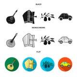 Mandolin far, oliv, retro automatisk Symboler för samling för Italien landsuppsättning i svart, lägenhet, monokromt stilvektorsym vektor illustrationer