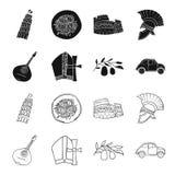 Mandolin far, oliv, retro automatisk Symboler för samling för Italien landsuppsättning i svart, materiel för symbol för översikts vektor illustrationer