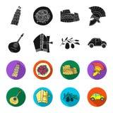Mandolin far, oliv, retro automatisk Symboler för samling för Italien landsuppsättning i svart, materiel för symbol för fletstilv vektor illustrationer