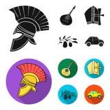 Mandolin far, oliv, retro automatisk Symboler för samling för Italien landsuppsättning i svart, materiel för symbol för lägenhets royaltyfri illustrationer