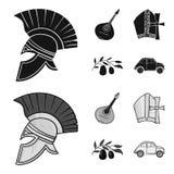 Mandolin far, oliv, retro automatisk Symboler för samling för Italien landsuppsättning i svart, materiel för symbol för monochrom vektor illustrationer
