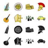 Mandolin far, oliv, retro automatisk Symboler för samling för Italien landsuppsättning i svart, materiel för symbol för tecknad f vektor illustrationer