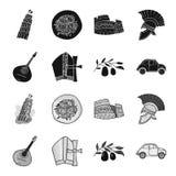 Mandolin far, oliv, retro automatisk Symboler för samling för Italien landsuppsättning i svart, monokromt materiel för stilvektor royaltyfri illustrationer