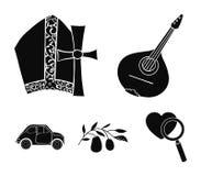 Mandolin far, oliv, retro automatisk Symboler för samling för Italien landsuppsättning i svart stilvektorsymbol lagerför illustra vektor illustrationer