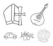 Mandolin far, oliv, retro automatisk Symboler för samling för Italien landsuppsättning i symbol för översiktsstilvektor lagerför  royaltyfri illustrationer