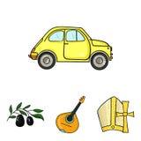 Mandolin far, oliv, retro automatisk Symboler för samling för Italien landsuppsättning i symbol för tecknad filmstilvektor lagerf stock illustrationer