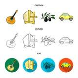Mandolin far, oliv, retro automatisk Symboler för samling för Italien landsuppsättning i tecknade filmen, översikt, materiel för  stock illustrationer