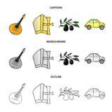 Mandolin far, oliv, retro automatisk Symboler för samling för Italien landsuppsättning i tecknade filmen, översikt, monokromt sti vektor illustrationer