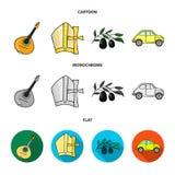 Mandolin far, oliv, retro automatisk Symboler för samling för Italien landsuppsättning i tecknade filmen, lägenhet, monokromt sti royaltyfri illustrationer