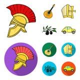 Mandolin far, oliv, retro automatisk Symboler för samling för Italien landsuppsättning i tecknade filmen, materiel för symbol för royaltyfri illustrationer