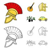 Mandolin far, oliv, retro automatisk Symboler för samling för Italien landsuppsättning i tecknade filmen, materiel för symbol för stock illustrationer