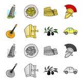 Mandolin far, oliv, retro automatisk Symboler för samling för Italien landsuppsättning i tecknade filmen, monokromt materiel för  royaltyfri illustrationer