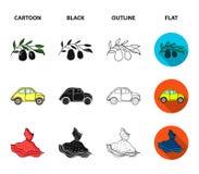 Mandolin far, oliv, retro automatisk Symboler för samling för Italien landsuppsättning i tecknade filmen, svart, översikt, symbol vektor illustrationer