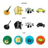 Mandolin far, oliv, retro automatisk Symboler för samling för Italien landsuppsättning i tecknade filmen, svart, materiel för sym vektor illustrationer